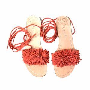 Mariella Italian Sandals Orange Fringe Ankle Ties